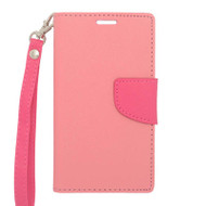 *$1 SALE* Leather Wallet Shell Case for LG Optimus L90 - Pink
