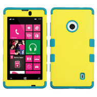 Military Grade TUFF Hybrid Case for Nokia Lumia 521 - Yellow Teal