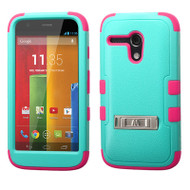*Sale* Military Grade TUFF Hybrid Kickstand Armor for Motorola Moto G - Teal Hot Pink