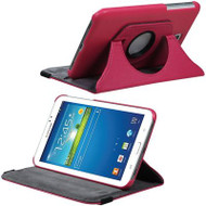 Rotary Leather Hybrid Case for Samsung Galaxy Tab 4 7.0 - Hot Pink
