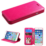 Book-Style Leather Folio Case for iPhone 6 / 6S - Hot Pink