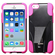 Fusion Multi-Layer Hybrid Kickstand Case for iPhone 6 / 6S - Black Hot Pink