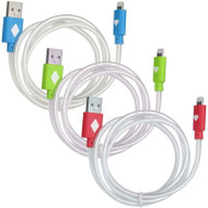 *LIMITED TIME OFFER* Luxmo Neon Lightning Connector to USB Charging and Sync Cable - 3 Pack