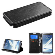 *SALE* Book-Style Leather Folio Case for Samsung Galaxy Note II - Black