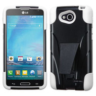 *$1 SALE* Fusion Multi-Layer Hybrid Kickstand Case for LG Optimus L90 - Black White
