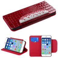 Luxury Patent Leather Wallet Case for iPhone 6 / 6S - Snake Red