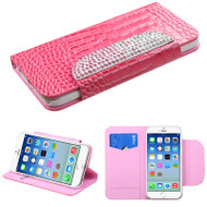Luxury Patent Leather Wallet Case for iPhone 6 / 6S - Snake Hot Pink