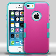 Military Grade Certified TUFF Merge Hybrid Case for iPhone SE / 5S / 5 - Hot Pink Teal