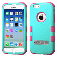 Military Grade Certified TUFF Hybrid Kickstand Case for iPhone 6 / 6S - Teal Hot Pink