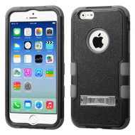 Military Grade Certified TUFF Hybrid Kickstand Case for iPhone 6 / 6S - Black Grey
