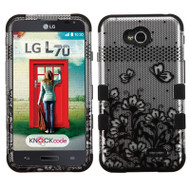 *$1 SALE* Military Grade TUFF Image Hybrid Case for LG Ultimate 2 / Realm / Optimus L70 / Exceed 2 - Lace Flowers Black