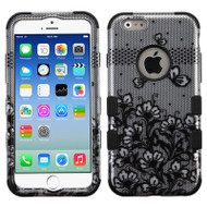 Military Grade Certified TUFF Image Hybrid Case for iPhone 6 / 6S - Lace Flowers Black