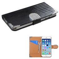 Luxury Portfolio Leather Wallet Case for iPhone 6 / 6S - Silver Croc Black