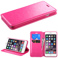 *SALE* Book-Style Leather Folio Case for iPhone 6 Plus / 6S Plus - Hot Pink