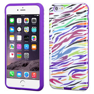 Dual Layer Hybrid Case for iPhone 6 Plus / 6S Plus - Rainbow Zebra
