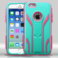 TUFF Extreme Hybrid Kickstand Case for iPhone 6 / 6S - Teal Hot Pink