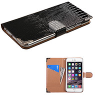 Luxury Portfolio Leather Wallet Case for iPhone 6 Plus / 6S Plus - Silver Croc Black