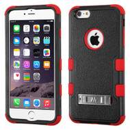 Military Grade Certified TUFF Hybrid Kickstand Case for iPhone 6 Plus / 6S Plus - Black Red