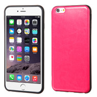 Rubberized Leather Backing TPU Case for iPhone 6 Plus / 6S Plus - Hot Pink