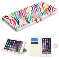Art Design Portfolio Leather Wallet for iPhone 6 Plus / 6S Plus - Rainbow Zebra