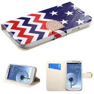 Art Design Portfolio Leather Wallet for Samsung Galaxy S3 - Star Wave