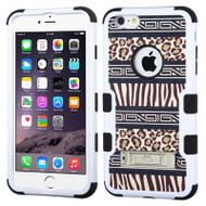 Military Grade Certified TUFF Image Hybrid Kickstand Case for iPhone 6 Plus / 6S Plus - Leopard Zebra