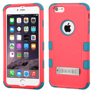 Military Grade Certified TUFF Hybrid Kickstand Case for iPhone 6 Plus / 6S Plus - Hot Pink Teal