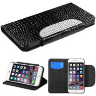 Luxury Patent Leather Wallet Case for iPhone 6 Plus / 6S Plus - Snake Black