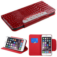 Luxury Patent Leather Wallet Case for iPhone 6 Plus / 6S Plus - Snake Red