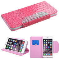 Luxury Patent Leather Wallet Case for iPhone 6 Plus / 6S Plus - Snake Hot Pink