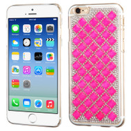 Desire Bling Bling Crystal Cover for iPhone 6 / 6S - Checker Hot Pink