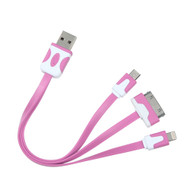 Mybat 3-IN-1 Noodle Lightning, Dock, Micro USB Connector Charging & Sync Cable Adapter - Pink