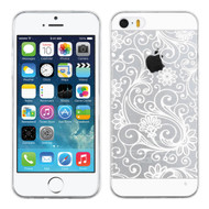 Floral Rubberized Crystal Case for iPhone SE / 5S / 5 - White