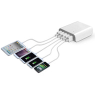 5 USB Ports Power Hub Desktop Charger - White