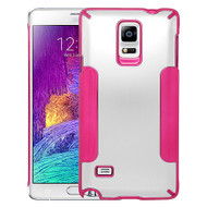 Aluminum Alloy Hybrid Armor Case for Samsung Galaxy Note 4 - Silver Hot Pink
