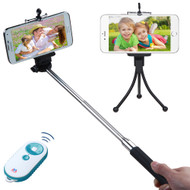 Selfie Stick Wireless Remote Control Shutter Bundle Kit - White Teal