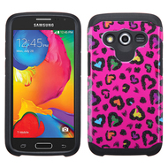 Hybrid Multi-Layer Armor Case for Samsung Galaxy Avant - Glittering Leopard Hot Pink