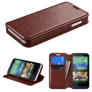 Book-Style Leather Folio Case for HTC Desire 512 / 510 - Brown