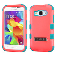 Military Grade Certified TUFF Hybrid Kickstand Armor for Samsung Galaxy Core Prime / Prevail LTE - Pink Teal