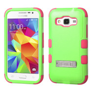Military Grade Certified TUFF Hybrid Kickstand Armor for Samsung Galaxy Core Prime / Prevail LTE - Green Hot Pink
