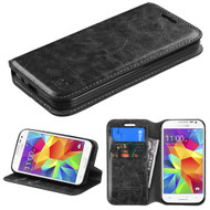 Book-Style Leather Folio Case for Samsung Galaxy Core Prime / Prevail LTE - Black