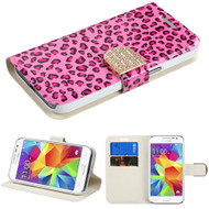 Art Design Portfolio Leather Wallet for Samsung Galaxy Core Prime / Prevail LTE - Leopard Pink