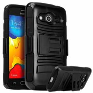 Advanced Armor Hybrid Kickstand Case with Holster for Samsung Galaxy Core Prime / Prevail LTE - Black