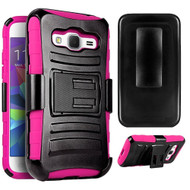 Advanced Armor Hybrid Kickstand Case with Holster for Samsung Galaxy Core Prime / Prevail LTE - Black Hot Pink