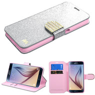 Glitter Leather Wallet Case for Samsung Galaxy S6 - Silver