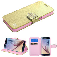 Glitter Leather Wallet Case for Samsung Galaxy S6 - Gold