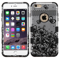 Military Grade Certified TUFF Image Hybrid Case for iPhone 6 Plus / 6S Plus - Lace Flowers Black