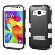 Military Grade Certified TUFF Hybrid Kickstand Armor for Samsung Galaxy Core Prime / Prevail LTE - Black White