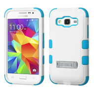 Military Grade Certified TUFF Hybrid Kickstand Armor for Samsung Galaxy Core Prime / Prevail LTE - White Teal 364