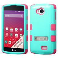 *Sale* Military Grade TUFF Hybrid Kickstand Case for LG Optimus F60 / Transpyre / Tribute - Teal Hot Pink